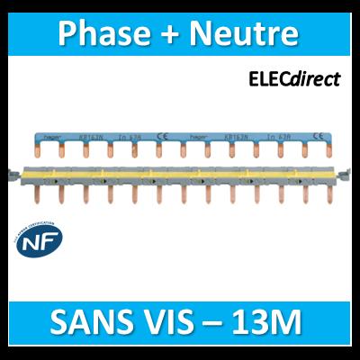 Hager - Peignes d'alimentation Phase+Neutre - Système AUTO 13M - KBS763