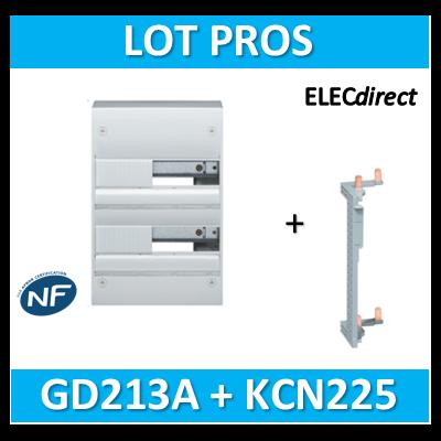 Hager - Coffret GAMMA 26 Modules - 2 Rangées de 13M + peigne vertical - GD213A+KCN225