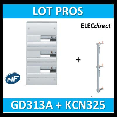 Hager - Coffret GAMMA 39 Modules - 3 Rangées de 13M + peigne vertical - GD313A+KCN325