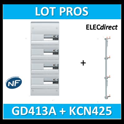 Hager - Coffret GAMMA 52 Modules - 4 Rangées de 13M + peigne vertical - GD413A+KCN425