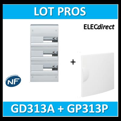 Hager - Coffret GAMMA 39 Modules - 3 Rangées de 13M + porte - GD313A+GP313P