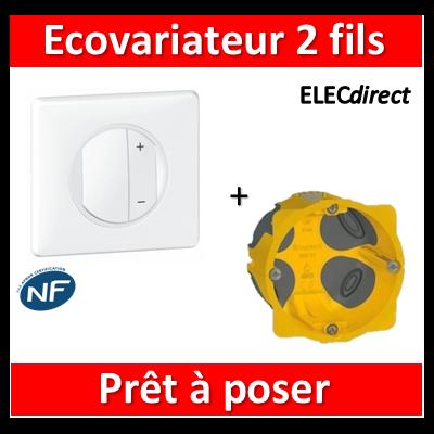 Legrand Céliane - Prêt à poser - EcoVariateur 2 fils + boîte batibox 1 poste BBC