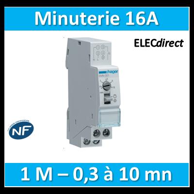 Hager - Minuterie 16A simple temporisation de 30s à 10mn 230V - EMN001