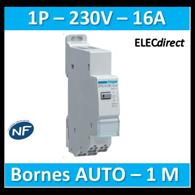 Hager - Télérupteur - Unipolaire 16A - 230V - AUTO - EPS410B