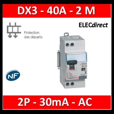Legrand - Disjoncteur différentiel DX3 2P - 40A - 30ma - AC - 410709