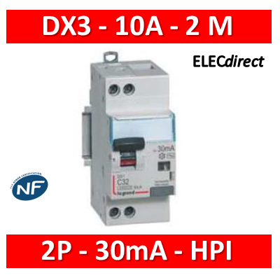 Legrand - Disjoncteur Différentiel 2P - 10A - 30ma Type HPI - 410752