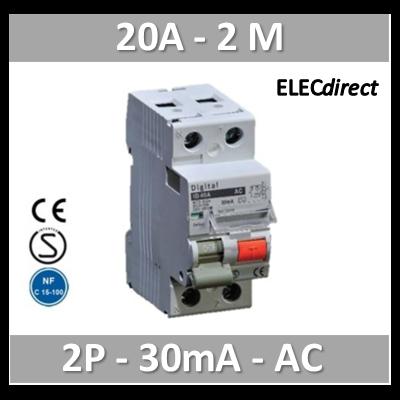 Digital - Disjoncteur Différentiel 2P - 20A - 6kA - 30ma Type AC - 03021
