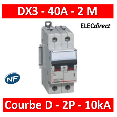 Legrand - Disjoncteur bipolaire DX3  40A - 10kA - courbe D - 408019