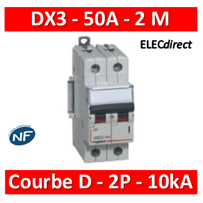 Legrand - Disjoncteur bipolaire DX3  50A - 10kA - courbe D - 408020