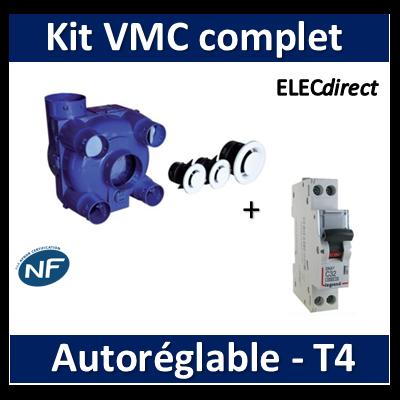 Nather - KIT VMC Simple Flux Autoréglable T4 pour rénovation + Disjoncteur DNX3 2A - 501212SR4+406771