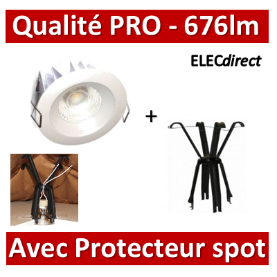 Lited - Spot LED 10W MonoLED - 3000K - 676lm + portecteur Ram - LT-DW-10WW + 59202