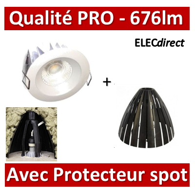 Lited - Spot LED 10W MonoLED - 3000K - 676lm + portecteur Ram - LT-DW-10WW + 59205