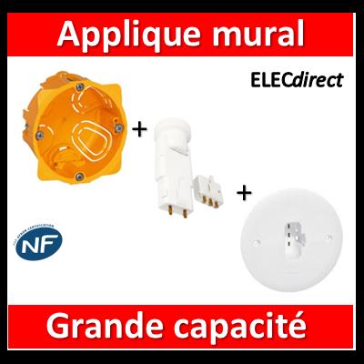 Legrand Batibox - Boîte luminaires pour applique grande capacité Prof. 40 - 080041+089594+11127