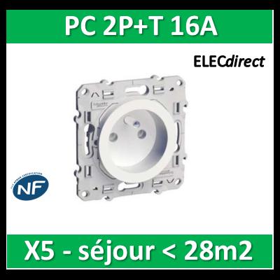 Schneider Odace - Prise de courant - 2P+T 16A - 250V - LOT pour séjour < 28m2 - s520059x5