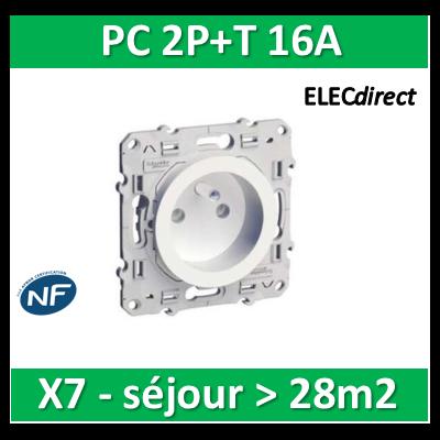 Schneider Odace - Prise de courant - 2P+T 16A - 250V - LOT pour séjour > 28m2 - s520059x7