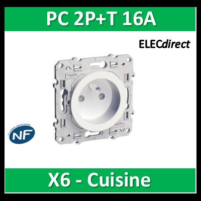Schneider Odace - Prise de courant - 2P+T 16A - 250V - LOT pour cuisine - s520059x6
