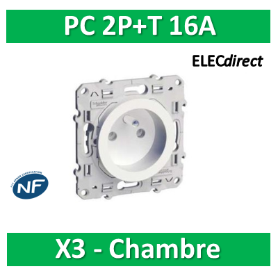 Schneider Odace - Prise de courant - 2P+T 16A - 250V - LOT pour chambre - s520059x3