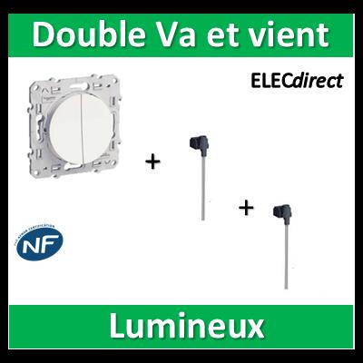Schneider Odace - Double Va et Vient Lumineux/Témoin Led 10A - s520273+s520290