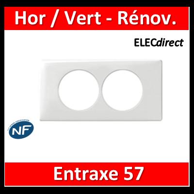 Legrand Céliane - Plaque double - Blanc - entraxe 57 mm spécial rénovation  Hor/Vert - 068808