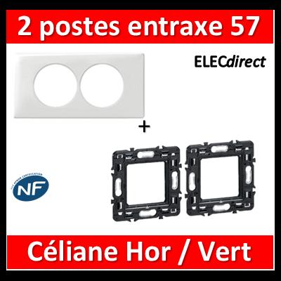 Legrand Céliane - Plaque double + support - entraxe 57 mm spécial rénov. Hor/Vert - 068808+080251x2