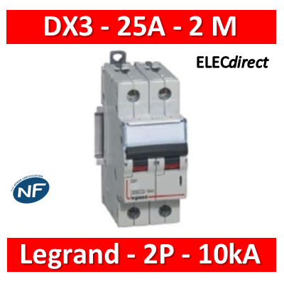 Legrand - Disjoncteur bipolaire DX3 25A - 10kA - courbe C - 407786