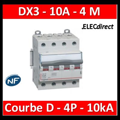 Legrand - Disjoncteur 4P DX3 10A - 10kA - courbe D - 408116
