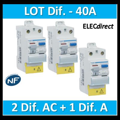 HAGER - LOT de 3 Inter différentiels (2 ID 40A AC + 1 ID 40A A) - CDC742Fx2+CDA743F