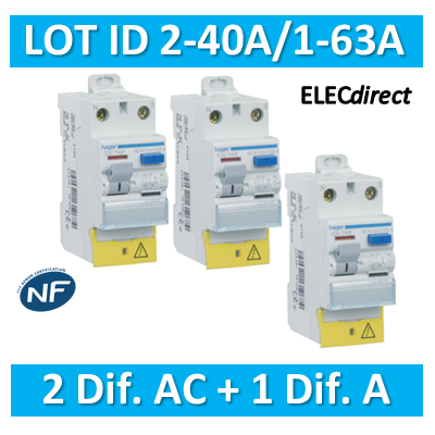 HAGER - LOT de 3 Inter différentiels (2 ID 40A AC + 1 ID 63A A) - CDC742Fx2+CDA765F