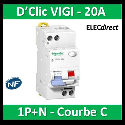 Schneider - Disjoncteur différentiel 30MA VIGI FSI 1P+N - Multi 9 - 20A - courbe C - 27664