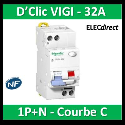 Schneider - Disjoncteur différentiel VIGI FSI 1P+N - Multi 9 - 32A - courbe C - 27666