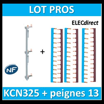 Hager - Répartition vertical 3 R + peigne d'alimentation 13M - KCN325+KB163Nx3+KB163Px3