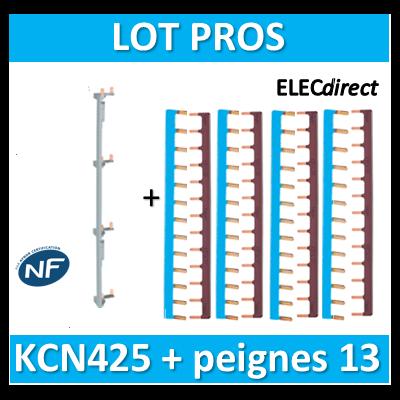 Hager - Répartition vertical 4 R + peigne d'alimentation 13M - KCN425+KB163Nx4+KB163Px4