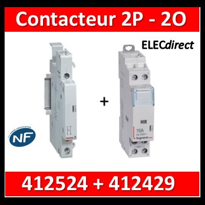 Legrand - Contacteur de puissance 2P bobine 230V - 25A - 2O + auxiliaire - 412524 + 412429
