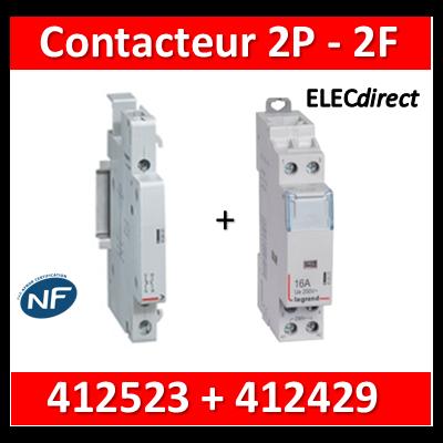Legrand - Contacteur de puissance 2P bobine 230V - 25A - 2F + auxiliaire - 412523 + 412429