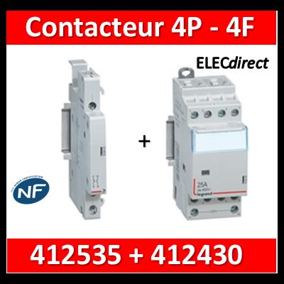 Legrand - Contacteur de puissance 4P bobine 230V - 25A - 4F - 2M + auxiliaire - 412535+412430