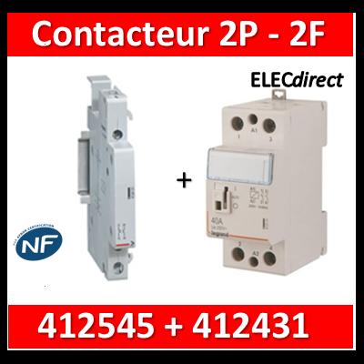 Legrand - Contacteur de puissance 2P bobine 230V - 40A - 2F - 2M + auxiliaire - 412545+412431