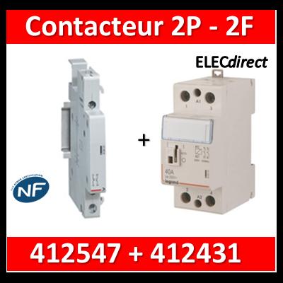 Legrand - Contacteur de puissance 2P bobine 230V - 63A - 2F - 2M + auxiliaire - 412547+412431