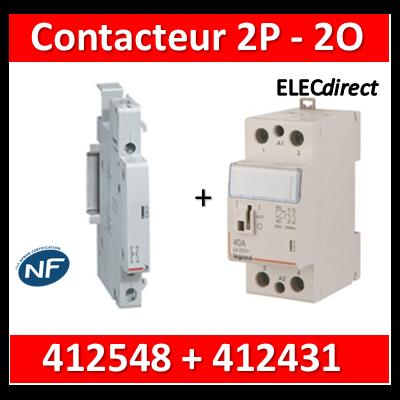 Legrand - Contacteur de puissance 2P bobine 230V - 63A - 2O - 2M + auxiliaire - 412548+412431