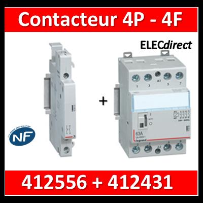 Legrand - Contacteur de puissance 4P bobine 230V - 63A - 4F - 3M + auxiliaire - 412556+412431