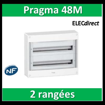 Schneider - Coffret électrique PRAGMA 48 modules - 2 rangées de 24M - PRA10266W