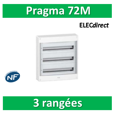 Schneider - Coffret électrique PRAGMA 72 modules - 3 rangées de 24M - PRA10267W