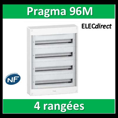 Schneider - Coffret électrique PRAGMA 96 modules - 4 rangées de 24M - PRA10268W