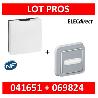 Legrand - Carillon 230V 2 TONS - 75dB + bouton poussoir lumineux Plexo - 041651+069824
