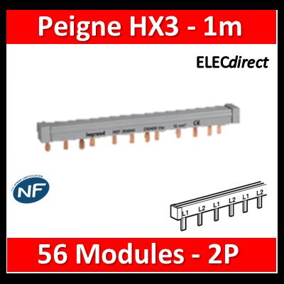 Legrand - Peigne d'alimentation HX3 - 2P - Pour bornes à vis - 56M L. 1m - 404939