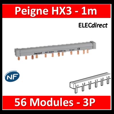 Legrand - Peigne d'alimentation HX3 - 3P - Pour bornes à vis - 56M - L. 1m - 404943