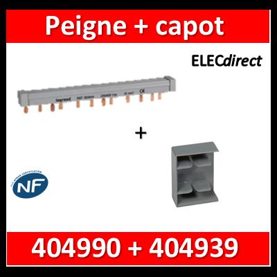 Legrand - Peigne d'alimentation HX3 - 2P - Pour bornes à vis - 56M L. 1m + capot - 404939+404990