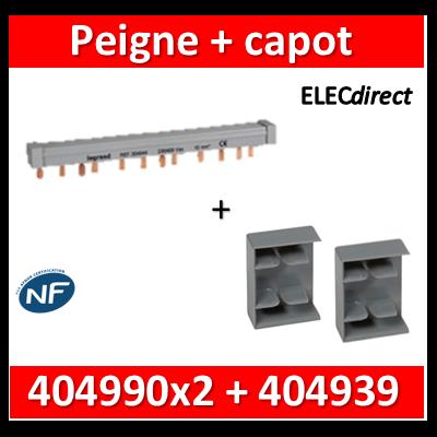 Legrand - Peigne d'alimentation HX3 - 2P - Pour bornes à vis - 56M L. 1m + 2 capots - 404939+404990x2
