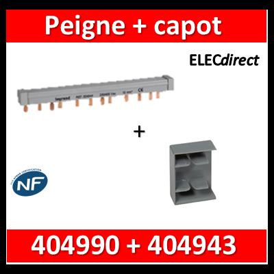 Legrand - Peigne d'alimentation HX3 - 3P - Pour bornes à vis - 56M - L. 1m + capot - 404943+404990