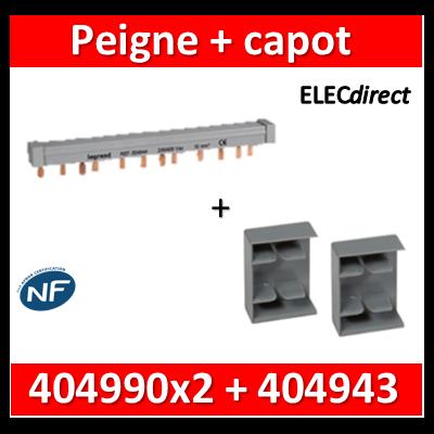Legrand - Peigne d'alimentation HX3 - 3P - Pour bornes à vis - 56M - L. 1m + 2 capots - 404943+404990x2