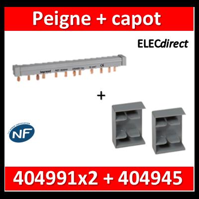Legrand - Peigne d'alimentation HX3 - 4P - Tétra - Pour bornes à vis - L au m + 2 capots - 404945+404991x2